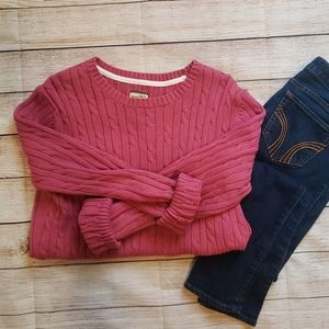 Heavy Duty Bass Heritage Rose Cable Knit Sweater